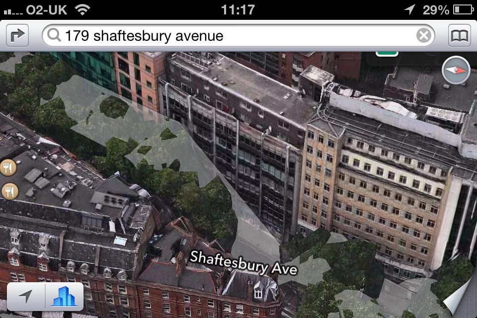 iOS 6 Maps Flyover shot, showcasing rendering errors