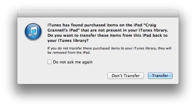 iTunes dialog box