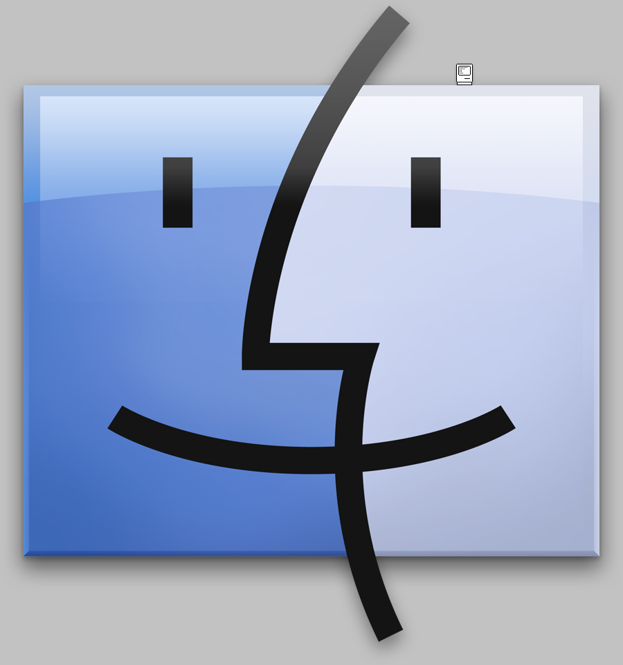 OS X Finder icon with tiny original Finder icon from 1984