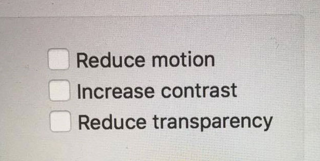 Reduce Motion checkbox in macOS Sierra