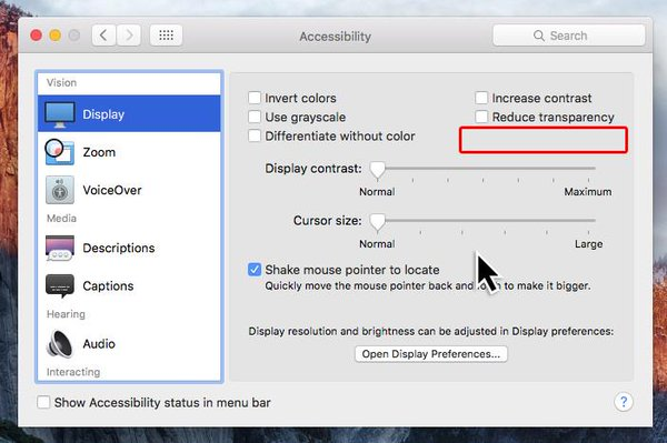 System Preferences pane with area marked out where Reduce Motion setting could go